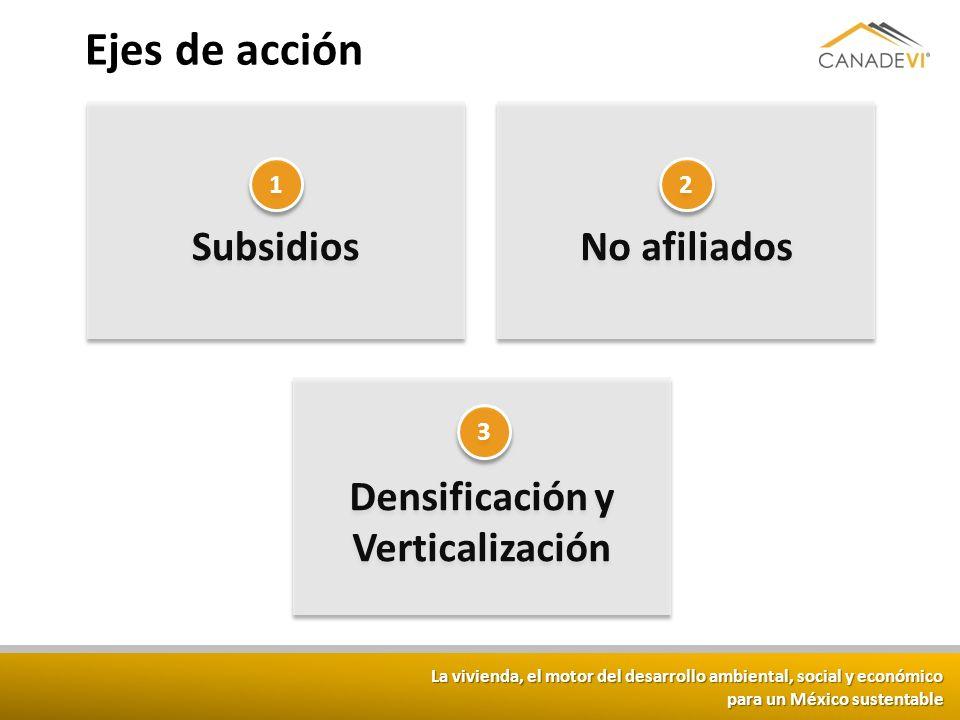 La vivienda, el motor del desarrollo ambiental, social y económico para un México sustentable Ejes de acción Densificación y Verticalización No afilia