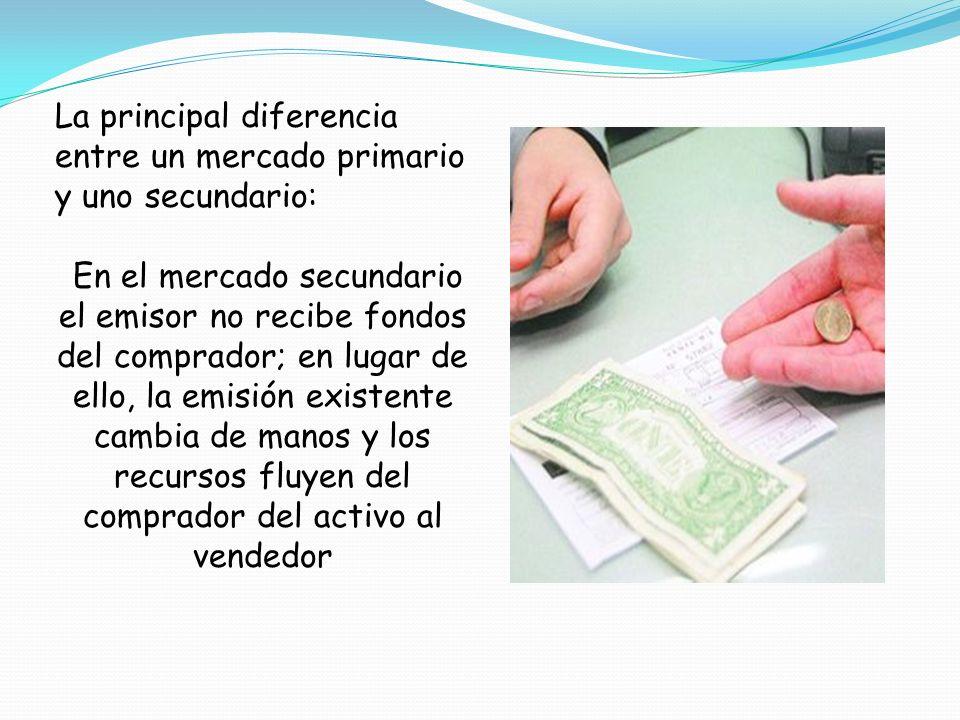 La principal diferencia entre un mercado primario y uno secundario: En el mercado secundario el emisor no recibe fondos del comprador; en lugar de ell