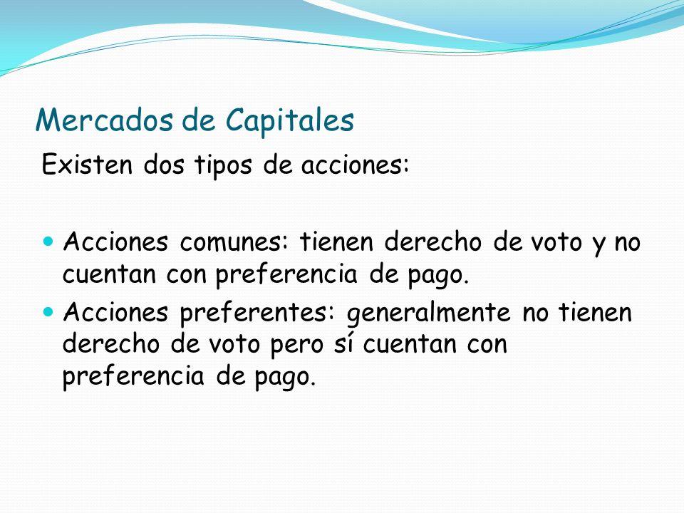 Mercados de Capitales Existen dos tipos de acciones: Acciones comunes: tienen derecho de voto y no cuentan con preferencia de pago. Acciones preferent