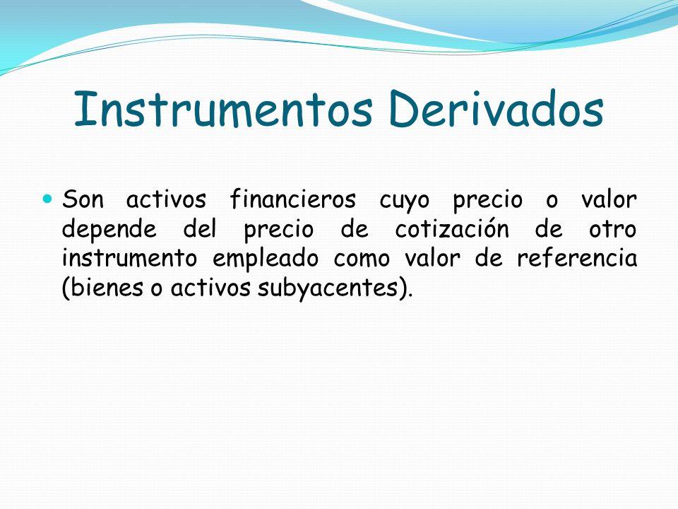 Instrumentos Derivados Son activos financieros cuyo precio o valor depende del precio de cotización de otro instrumento empleado como valor de referen
