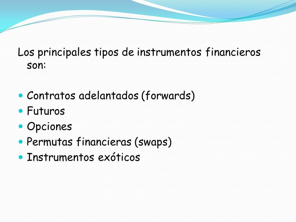 Los principales tipos de instrumentos financieros son: Contratos adelantados (forwards) Futuros Opciones Permutas financieras (swaps) Instrumentos exó