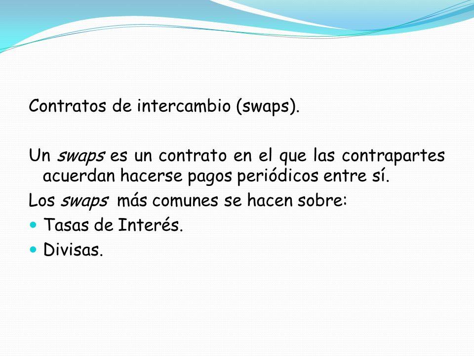 Contratos de intercambio (swaps). Un swaps es un contrato en el que las contrapartes acuerdan hacerse pagos periódicos entre sí. Los swaps más comunes