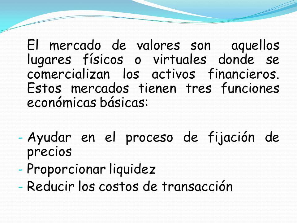 Mercado de capitales Principales características: El precio de la acción.