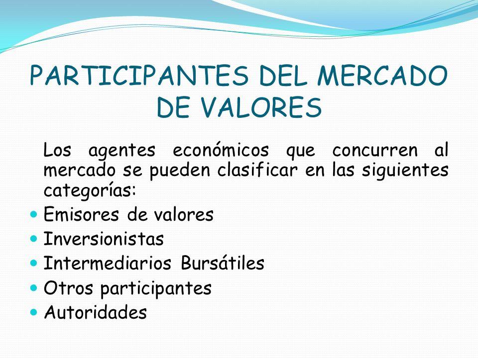 PARTICIPANTES DEL MERCADO DE VALORES Los agentes económicos que concurren al mercado se pueden clasificar en las siguientes categorías: Emisores de va