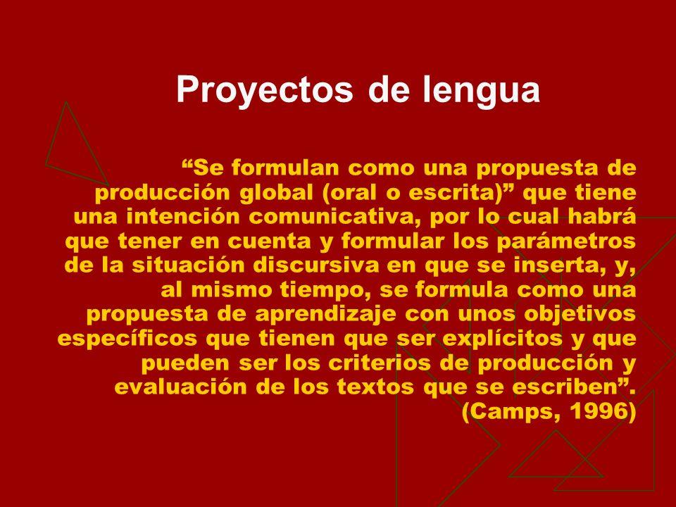 Se formulan como una propuesta de producción global (oral o escrita) que tiene una intención comunicativa, por lo cual habrá que tener en cuenta y for