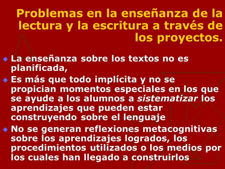 Problemas en la enseñanza de la lectura y la escritura a través de los proyectos. La enseñanza sobre los textos no es planificada, Es más que todo imp