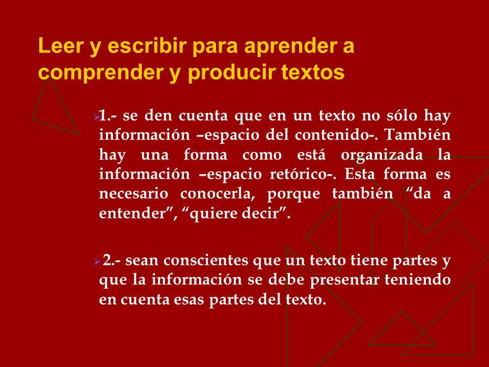 1.- se den cuenta que en un texto no sólo hay información –espacio del contenido-. También hay una forma como está organizada la información –espacio