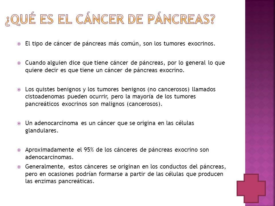 El tipo de cáncer de páncreas más común, son los tumores exocrinos. Cuando alguien dice que tiene cáncer de páncreas, por lo general lo que quiere dec