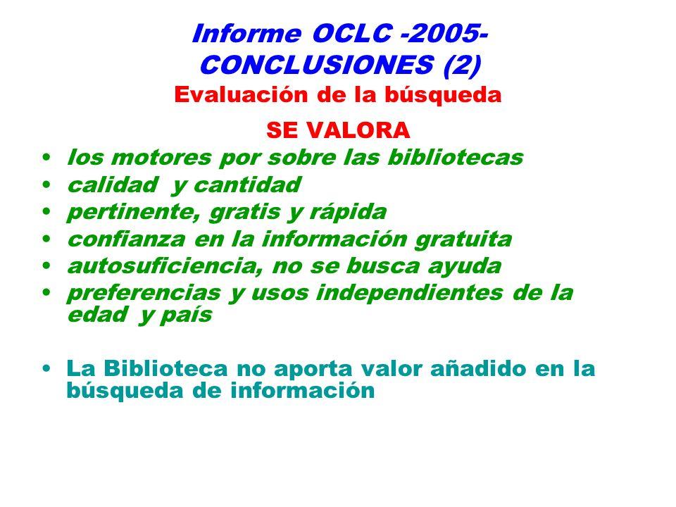 Informe OCLC -2005- CONCLUSIONES (2) Evaluación de la búsqueda SE VALORA los motores por sobre las bibliotecas calidad y cantidad pertinente, gratis y rápida confianza en la información gratuita autosuficiencia, no se busca ayuda preferencias y usos independientes de la edad y país La Biblioteca no aporta valor añadido en la búsqueda de información