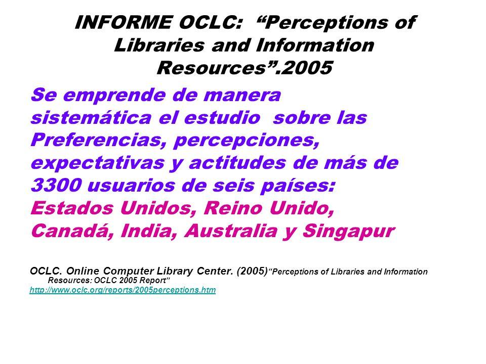 INFORME OCLC: Perceptions of Libraries and Information Resources.2005 Se emprende de manera sistemática el estudio sobre las Preferencias, percepciones, expectativas y actitudes de más de 3300 usuarios de seis países: Estados Unidos, Reino Unido, Canadá, India, Australia y Singapur OCLC.