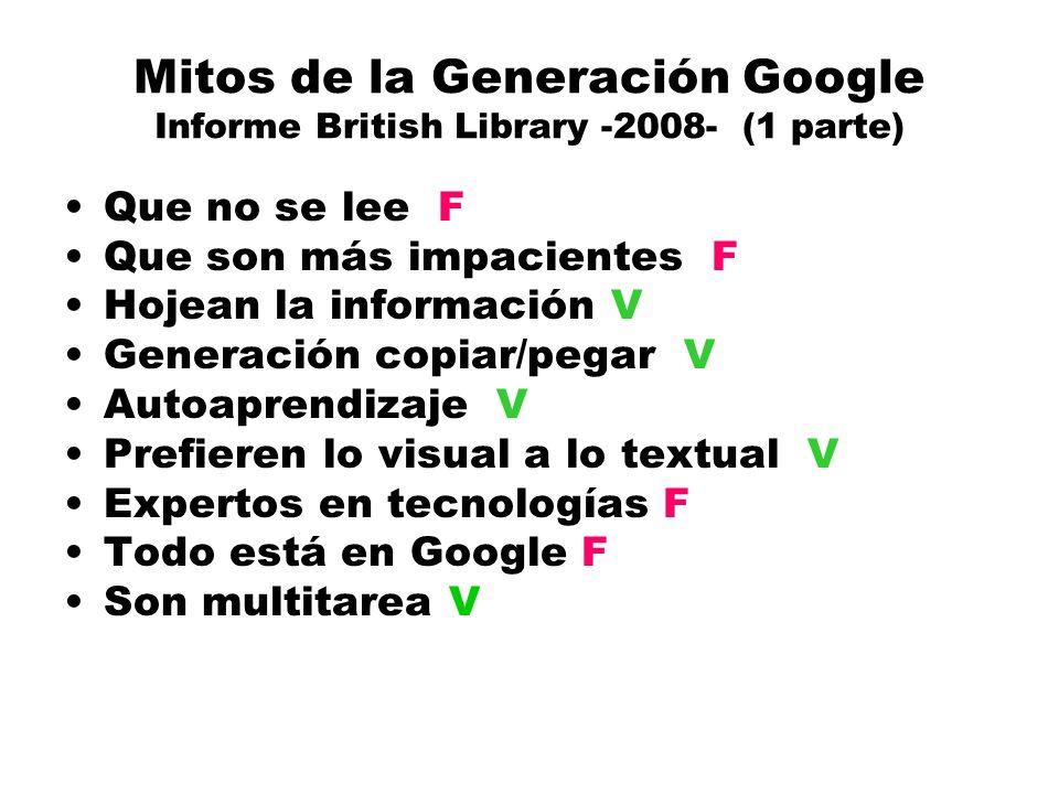 Mitos de la Generación Google Informe British Library -2008- (1 parte) Que no se lee F Que son más impacientes F Hojean la información V Generación copiar/pegar V Autoaprendizaje V Prefieren lo visual a lo textual V Expertos en tecnologías F Todo está en Google F Son multitarea V