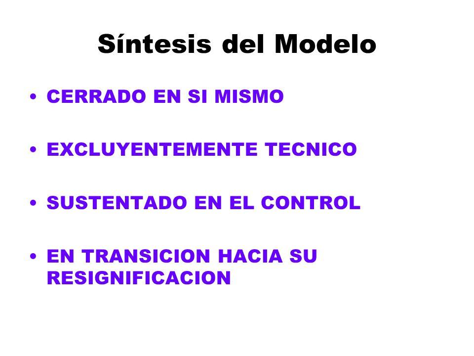 Síntesis del Modelo CERRADO EN SI MISMO EXCLUYENTEMENTE TECNICO SUSTENTADO EN EL CONTROL EN TRANSICION HACIA SU RESIGNIFICACION