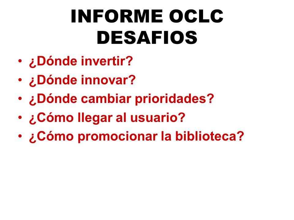 Total de Encuestados por País 3356 encuestados - 83 preguntas Perceptions of Libraries and Information Resources, OCLC, 2005.