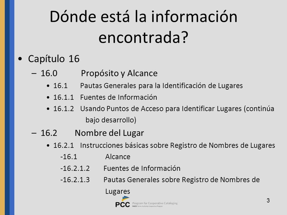 3 Dónde está la información encontrada.