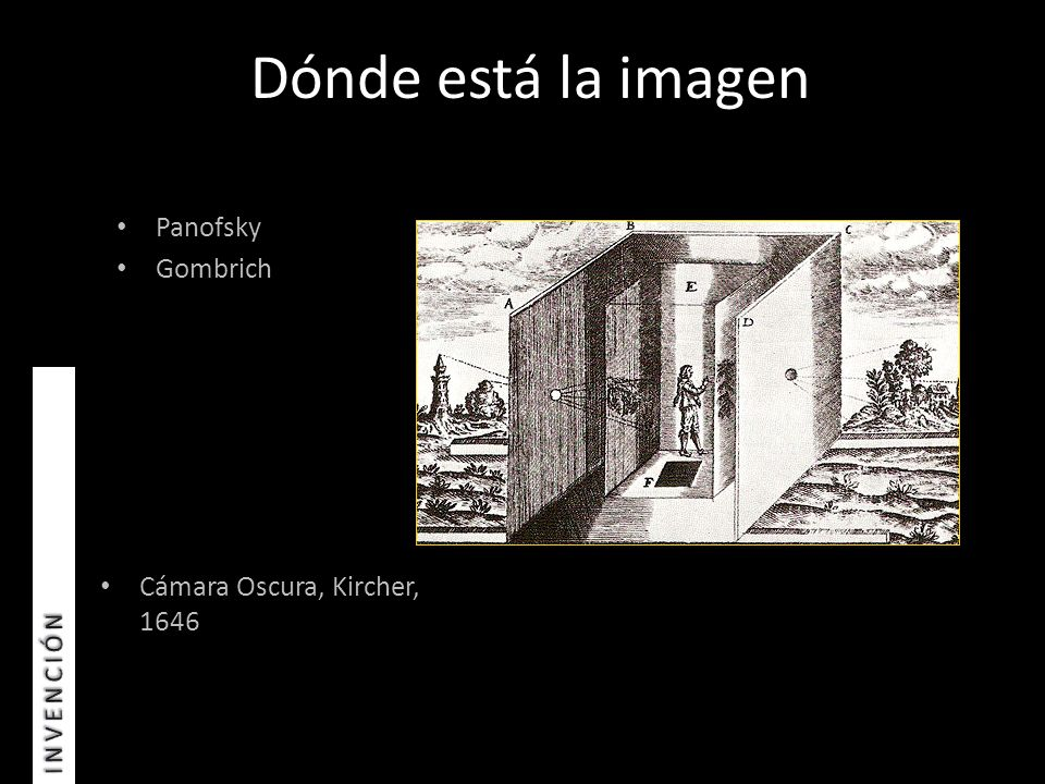 Dónde está la imagen Cámara Oscura, Kircher, 1646 Panofsky Gombrich