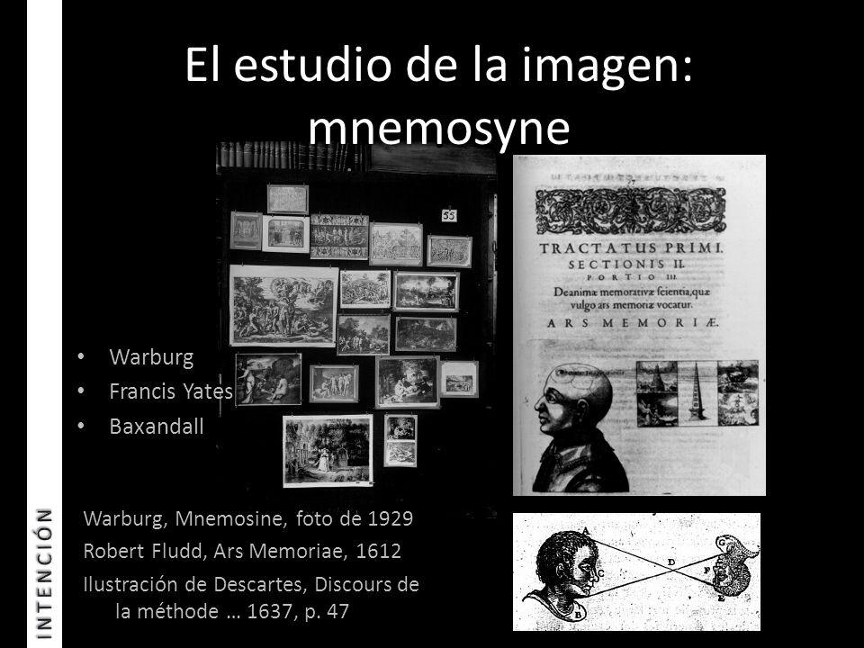 El estudio de la imagen: mnemosyne Warburg, Mnemosine, foto de 1929 Robert Fludd, Ars Memoriae, 1612 Ilustración de Descartes, Discours de la méthode