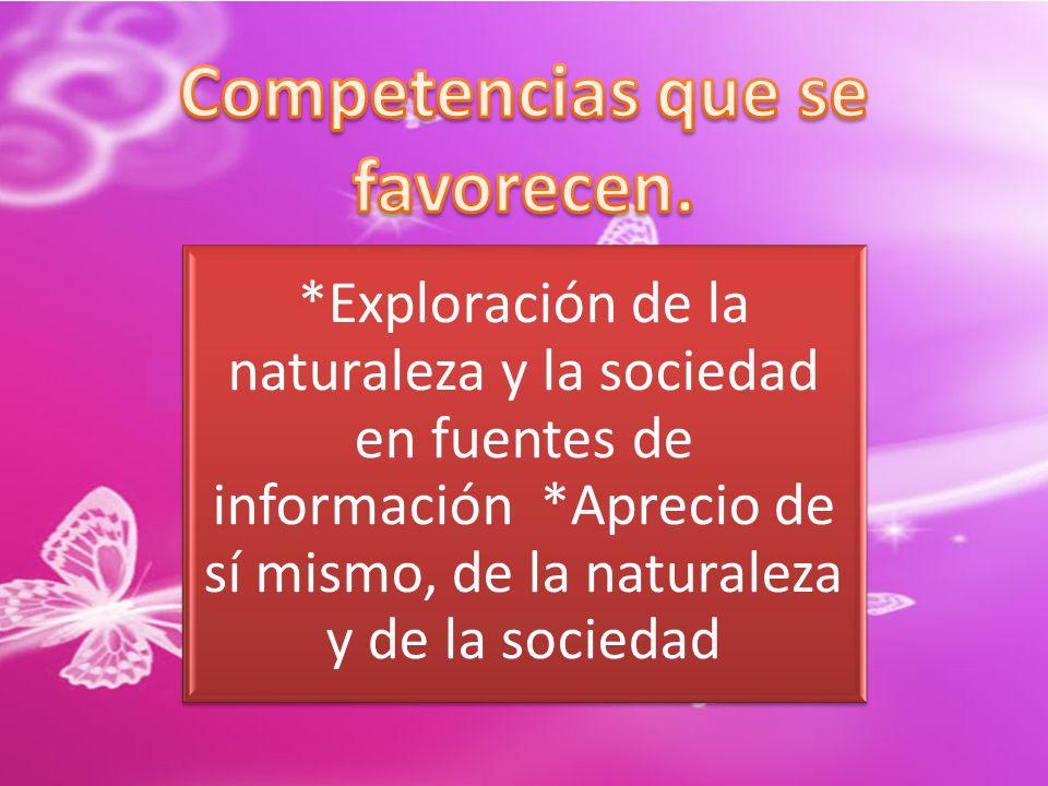 *Exploración de la naturaleza y la sociedad en fuentes de información *Aprecio de sí mismo, de la naturaleza y de la sociedad