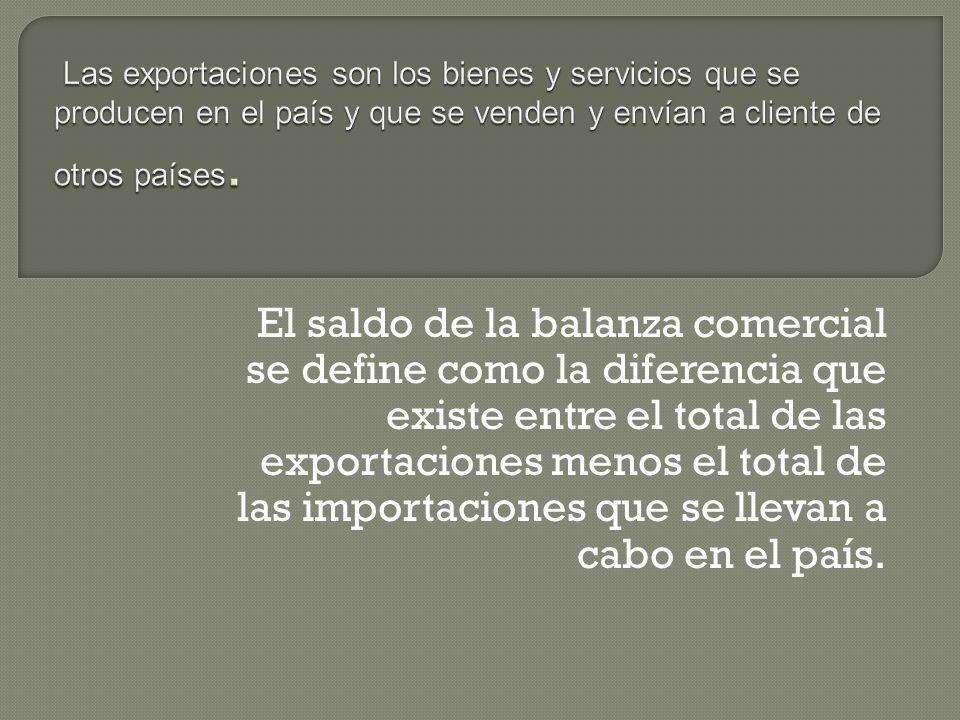 La balanza comercial es el registro de las importaciones y exportaciones de un país durante un período. El saldo de la misma es la diferencia entre ex