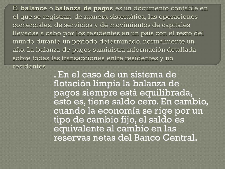 Las transacciones registradas en la balanza de pagos aparecen agrupadas en diferentes sub-balanzas, de acuerdo con el carácter que tengan. La diferenc