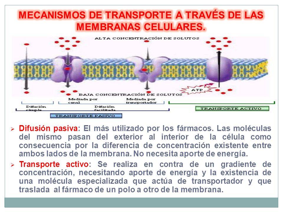Difusión pasiva: El más utilizado por los fármacos. Las moléculas del mismo pasan del exterior al interior de la célula como consecuencia por la difer