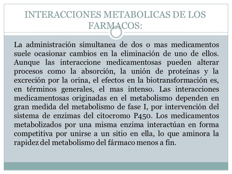 INTERACCIONES METABOLICAS DE LOS FARMACOS: La administración simultanea de dos o mas medicamentos suele ocasionar cambios en la eliminación de uno de