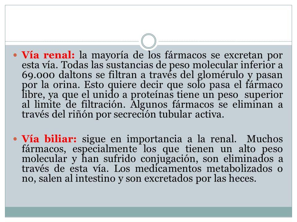 Vía renal: la mayoría de los fármacos se excretan por esta vía. Todas las sustancias de peso molecular inferior a 69.000 daltons se filtran a través d