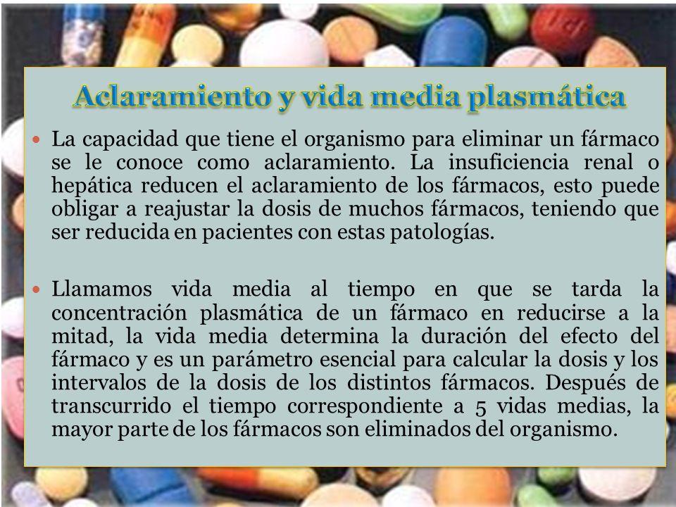 La capacidad que tiene el organismo para eliminar un fármaco se le conoce como aclaramiento. La insuficiencia renal o hepática reducen el aclaramiento