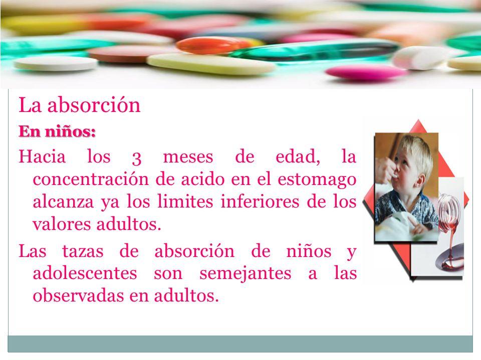 La absorción En niños: Hacia los 3 meses de edad, la concentración de acido en el estomago alcanza ya los limites inferiores de los valores adultos. L