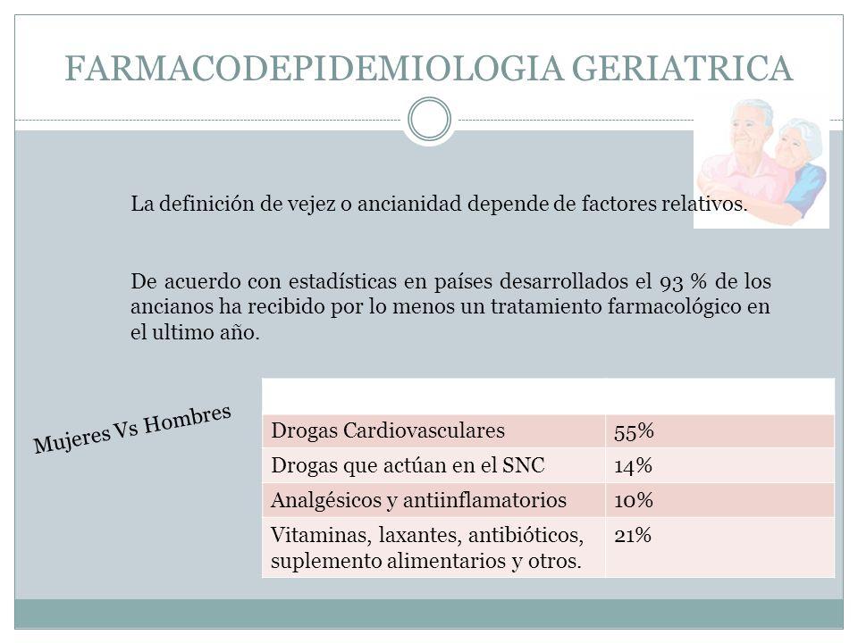 FARMACODEPIDEMIOLOGIA GERIATRICA La definición de vejez o ancianidad depende de factores relativos. De acuerdo con estadísticas en países desarrollado