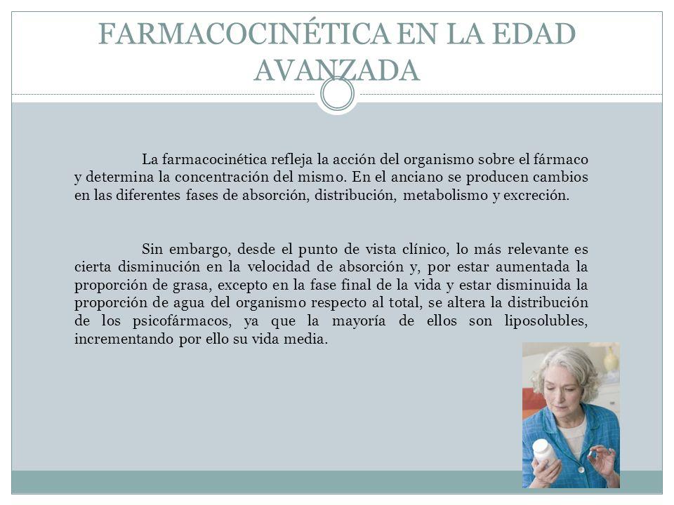 FARMACOCINÉTICA EN LA EDAD AVANZADA La farmacocinética refleja la acción del organismo sobre el fármaco y determina la concentración del mismo. En el