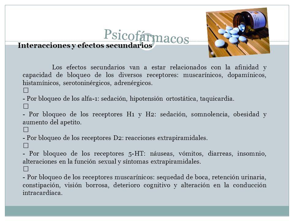 Psicofármacos Interacciones y efectos secundarios Los efectos secundarios van a estar relacionados con la afinidad y capacidad de bloqueo de los diver