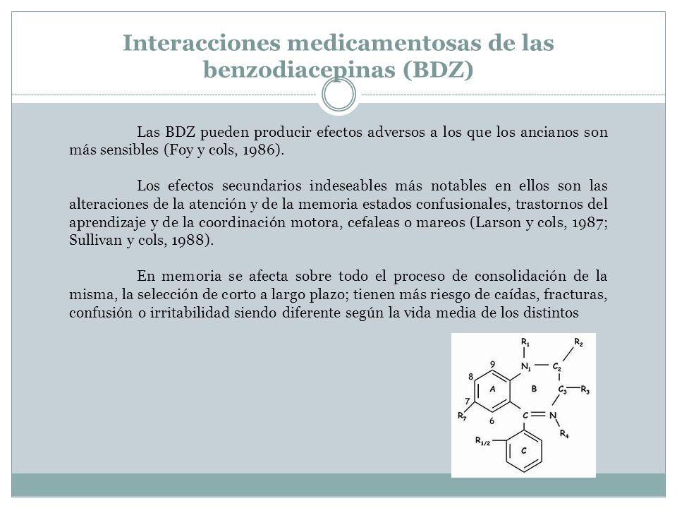 Interacciones medicamentosas de las benzodiacepinas (BDZ) Las BDZ pueden producir efectos adversos a los que los ancianos son más sensibles (Foy y col