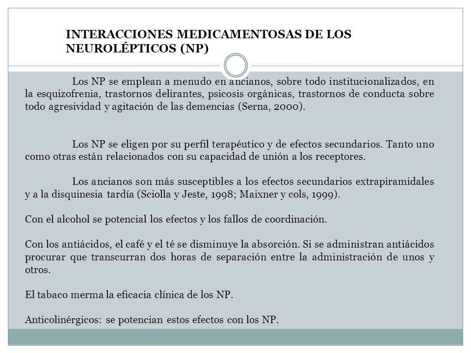 INTERACCIONES MEDICAMENTOSAS DE LOS NEUROLÉPTICOS (NP) Los NP se emplean a menudo en ancianos, sobre todo institucionalizados, en la esquizofrenia, tr