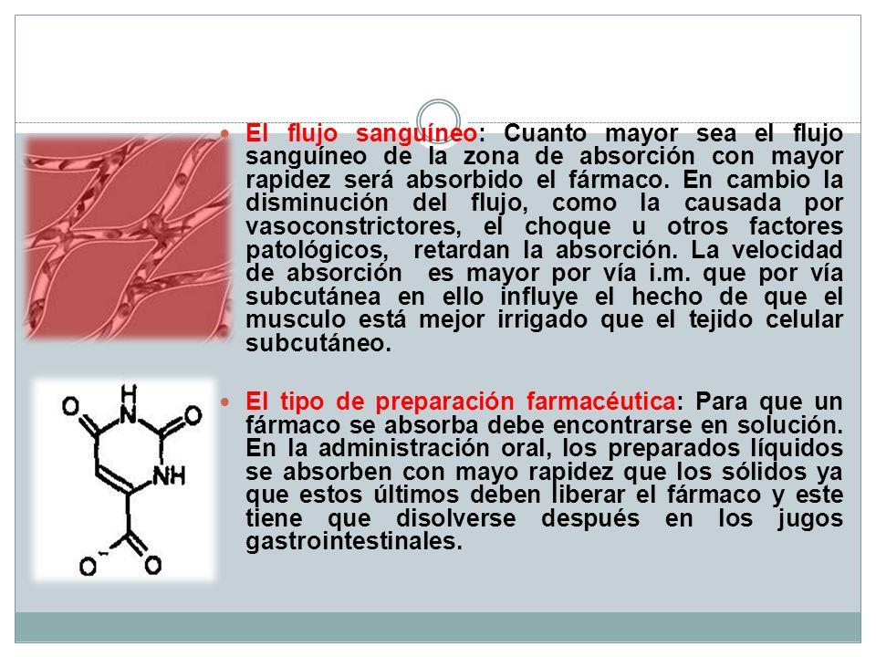 El flujo sanguíneo: Cuanto mayor sea el flujo sanguíneo de la zona de absorción con mayor rapidez será absorbido el fármaco. En cambio la disminución