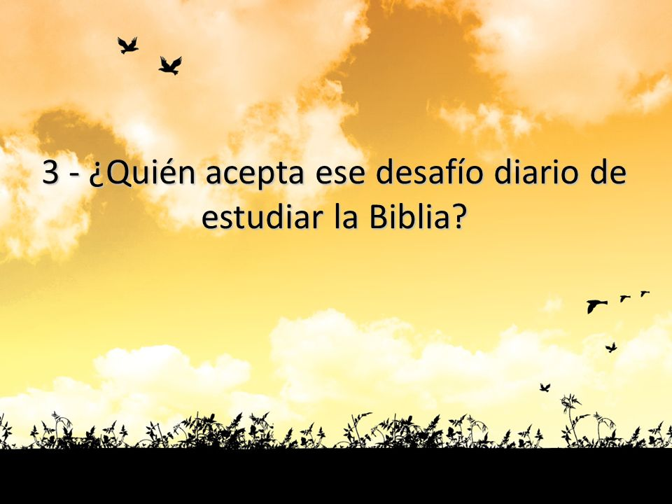 3 - ¿Quién acepta ese desafío diario de estudiar la Biblia?