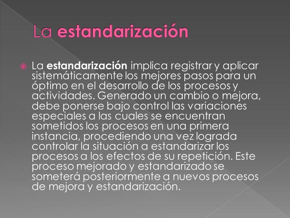 La estandarización implica registrar y aplicar sistemáticamente los mejores pasos para un óptimo en el desarrollo de los procesos y actividades. Gener