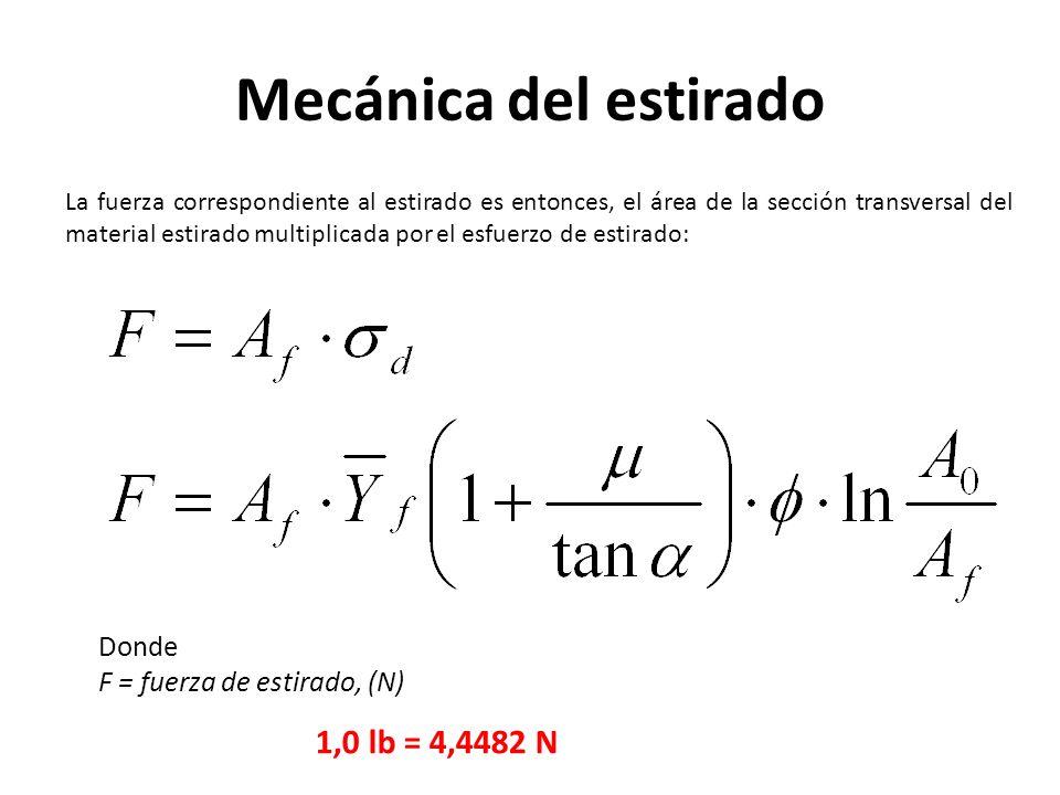 La fuerza correspondiente al estirado es entonces, el área de la sección transversal del material estirado multiplicada por el esfuerzo de estirado: Donde F = fuerza de estirado, (N) 1,0 lb = 4,4482 N