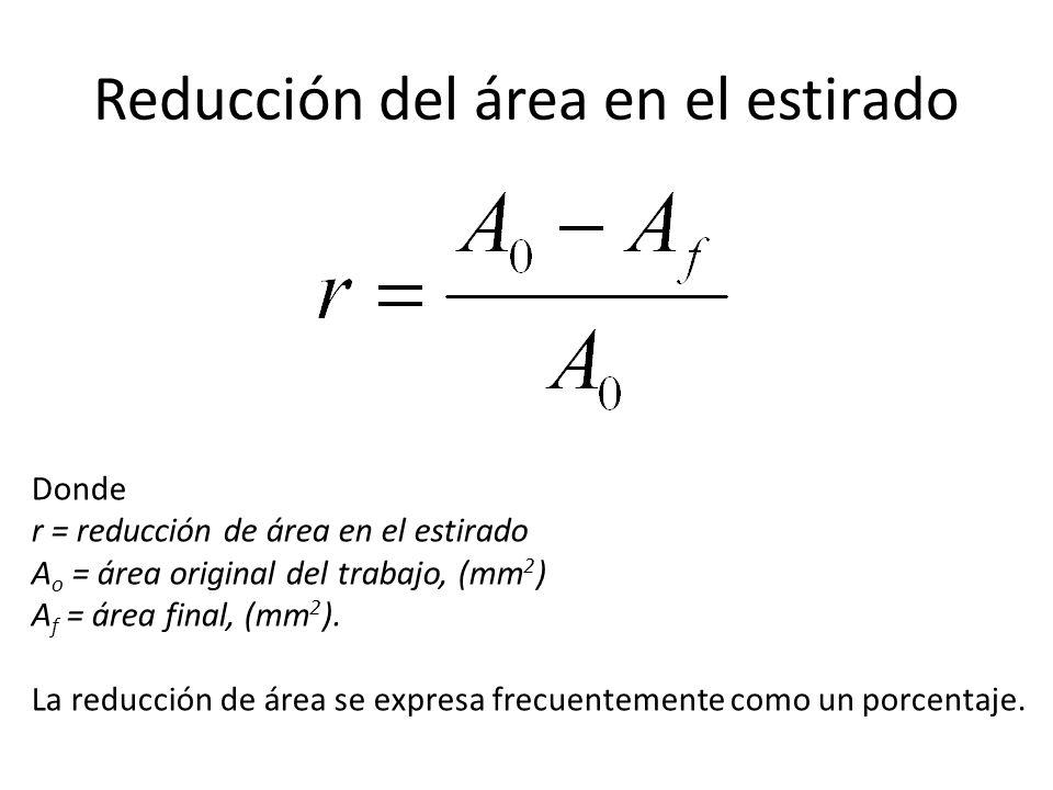 Reducción del área en el estirado Donde r = reducción de área en el estirado A o = área original del trabajo, (mm 2 ) A f = área final, (mm 2 ).