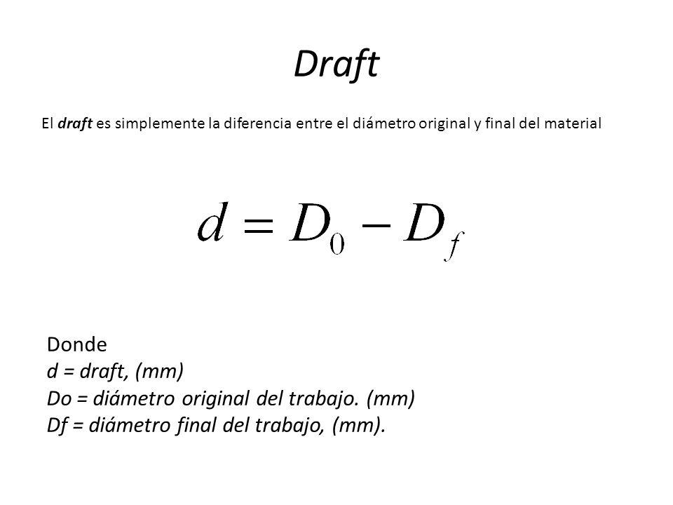 Draft El draft es simplemente la diferencia entre el diámetro original y final del material Donde d = draft, (mm) Do = diámetro original del trabajo.