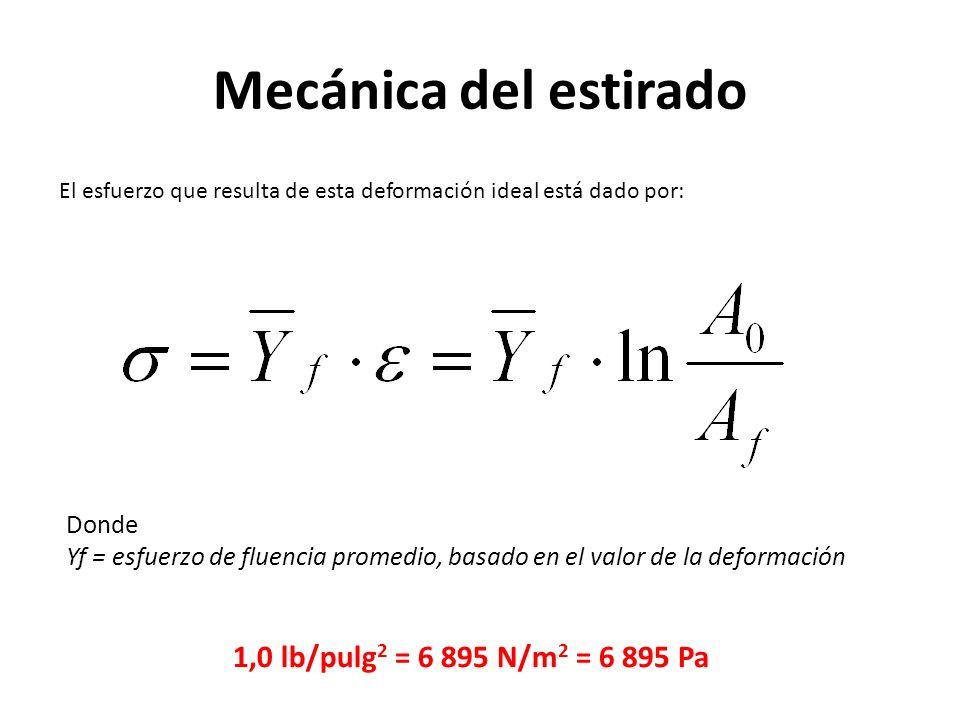 Mecánica del estirado El esfuerzo que resulta de esta deformación ideal está dado por: Donde Yf = esfuerzo de fluencia promedio, basado en el valor de la deformación 1,0 lb/pulg 2 = 6 895 N/m 2 = 6 895 Pa