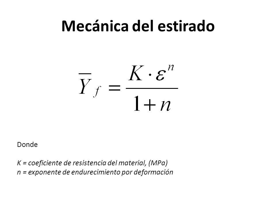 Mecánica del estirado Donde K = coeficiente de resistencia del material, (MPa) n = exponente de endurecimiento por deformación