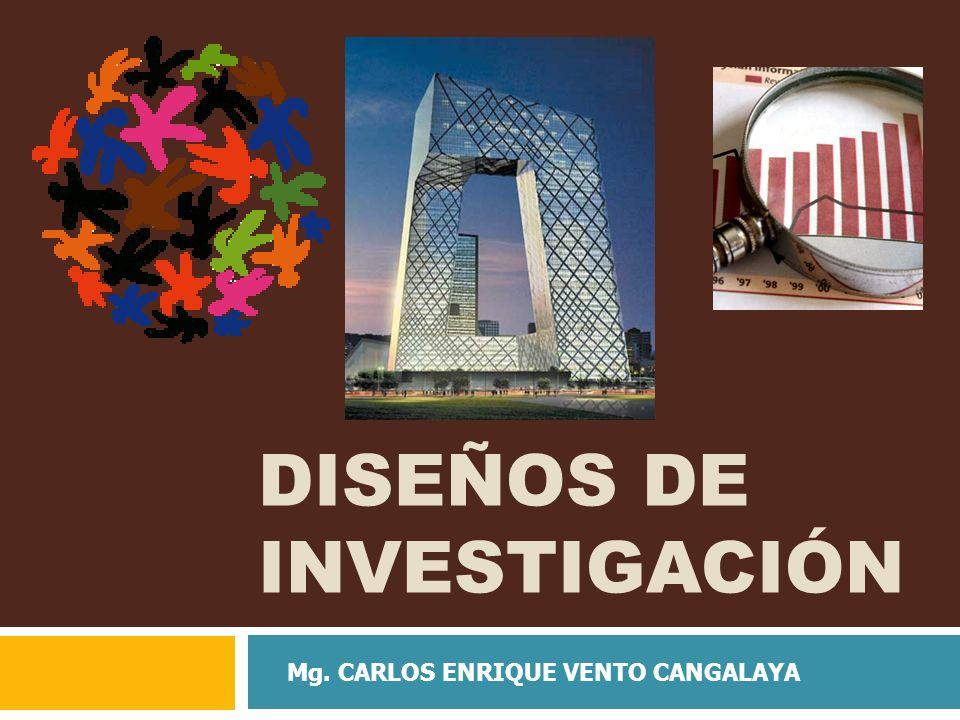 DISEÑOS DE INVESTIGACIÓN Mg. CARLOS ENRIQUE VENTO CANGALAYA