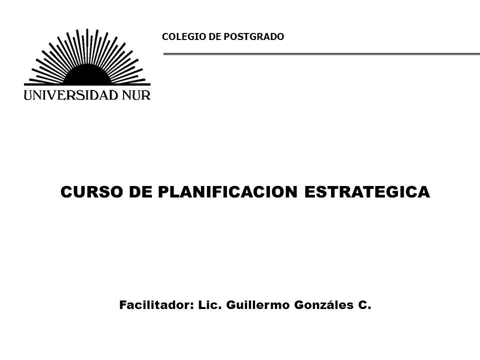 CURSO DE PLANIFICACION ESTRATEGICA Facilitador: Lic. Guillermo Gonzáles C. COLEGIO DE POSTGRADO