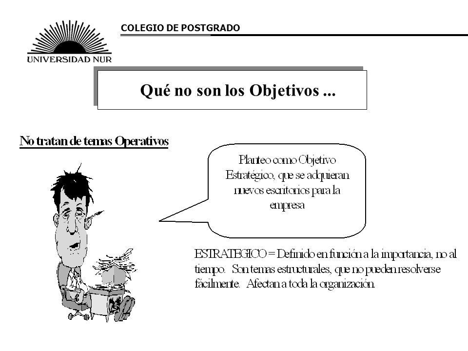 COLEGIO DE POSTGRADO Qué no son los Objetivos...