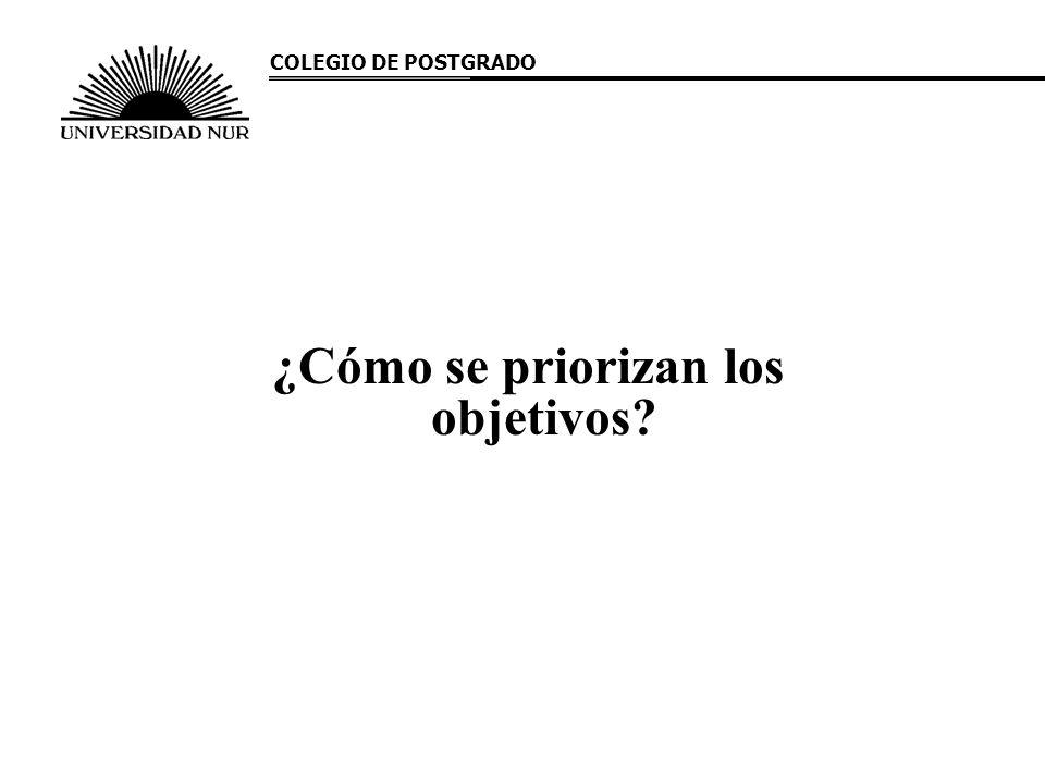¿Cómo se priorizan los objetivos? COLEGIO DE POSTGRADO
