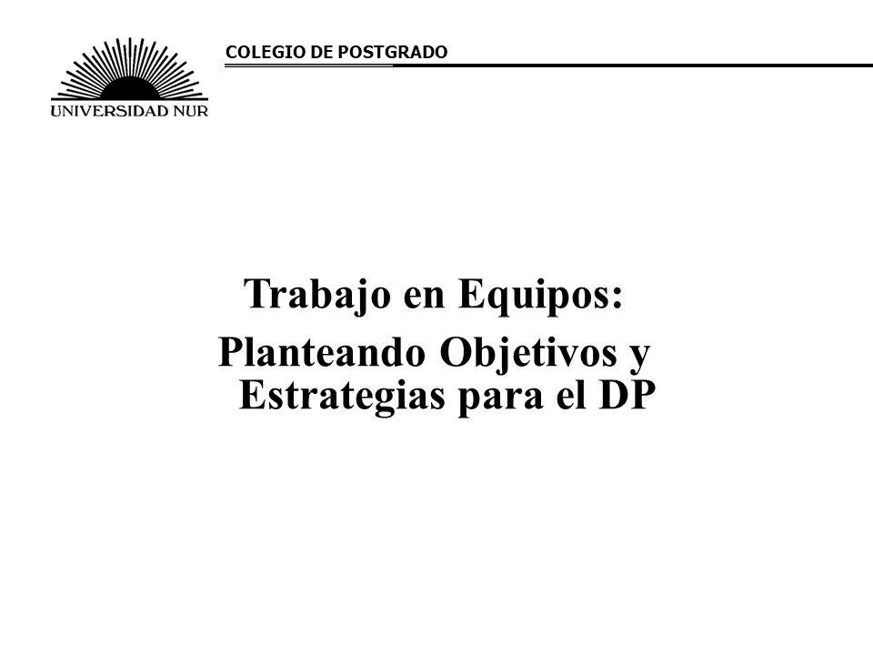 Trabajo en Equipos: Planteando Objetivos y Estrategias para el DP COLEGIO DE POSTGRADO