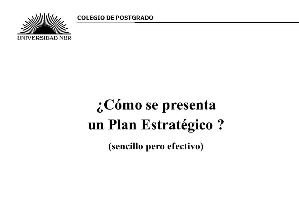 ¿Cómo se presenta un Plan Estratégico ? (sencillo pero efectivo) COLEGIO DE POSTGRADO