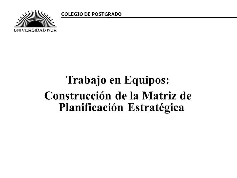 Trabajo en Equipos: Construcción de la Matriz de Planificación Estratégica COLEGIO DE POSTGRADO