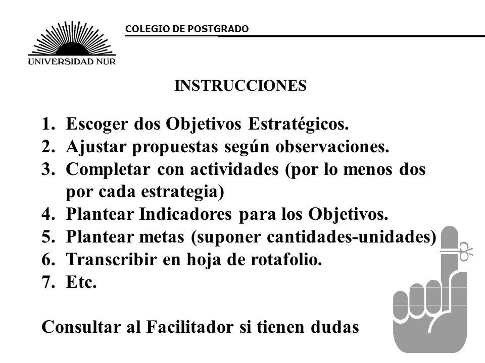 INSTRUCCIONES 1.Escoger dos Objetivos Estratégicos. 2.Ajustar propuestas según observaciones. 3.Completar con actividades (por lo menos dos por cada e