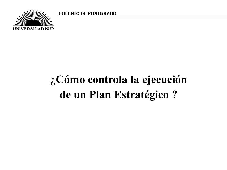 ¿Cómo controla la ejecución de un Plan Estratégico ? COLEGIO DE POSTGRADO